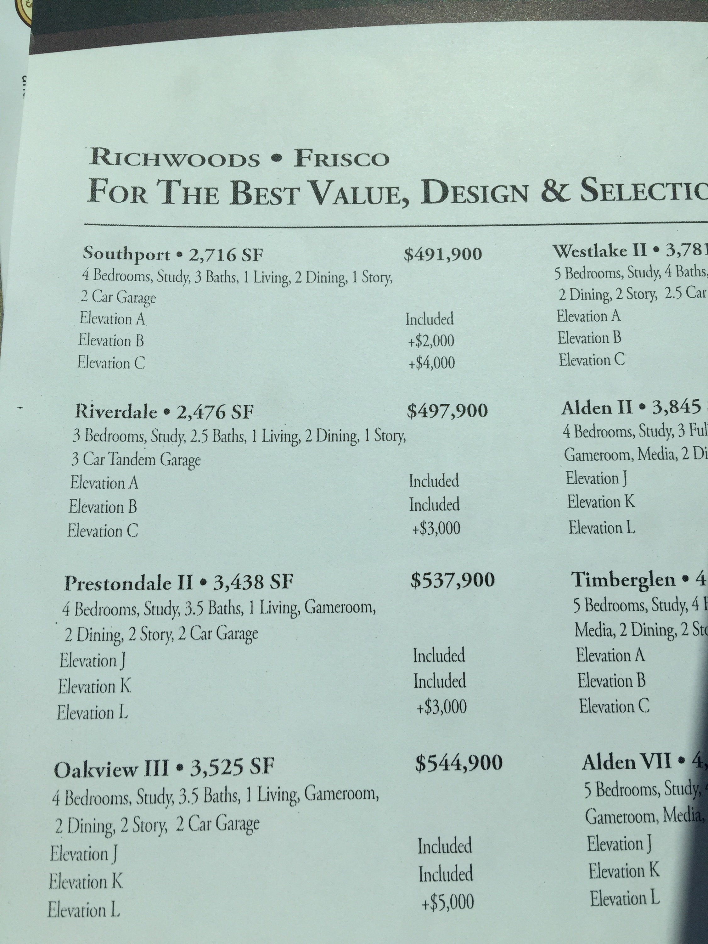 K hovnanian richwoods update frisco richwoods for New home price list